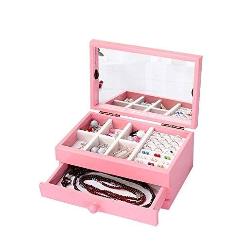 CHICAI Caja de Almacenamiento de Joyas, Simple Elegante portátil de Doble Capa de Gran Capacidad Joyas de Madera Rosadas Organizador pequeño Escritorio (Color : Pink)