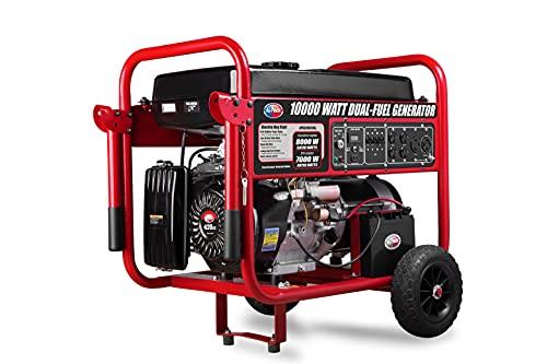 ford gas generators All Power America APGG10000GL 10000 Watt Dual Fuel Portable Generator with Electric Start 10000W Gas/Propane, Black/Red