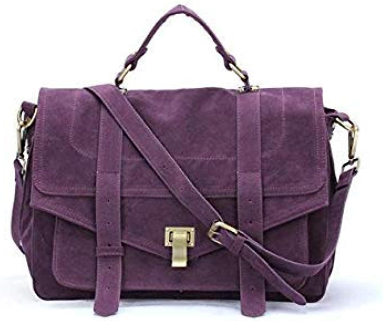 Suede Leather Satchel Women Messenger Bags Vintage Designer Postman Handbag Female Briefcase Big Crossbody Hand Bag for Lady Purple
