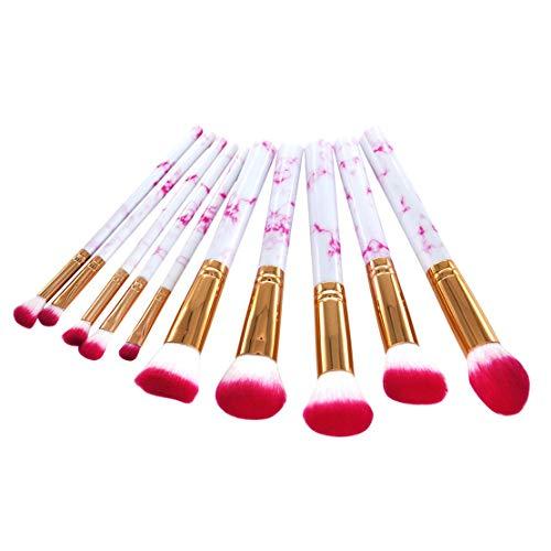 10pcs pinceaux de maquillage ensemble créative poignée de marbrure fibre douce poudre poudre de cheveux fondation fard à paupières pinceaux visage maquillage outils - blanc et rouge