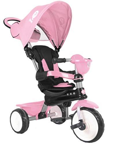 QPLAY Kinder Dreirad Buggy Comfort 4in1 10/8 Zoll Rosa UV-Dach Freilauf Lenkstange