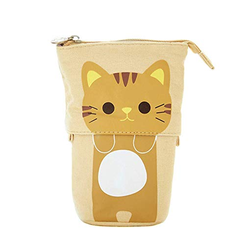Funny live Cue Cat Telescopic Stand Up Pencil Case Canvas Telescopic Desk Pencil Holder Bag High Capacity Bag Pouch Small Cosmetics Bag with Zipper for College Office Student Girls and Boys (Khaki)