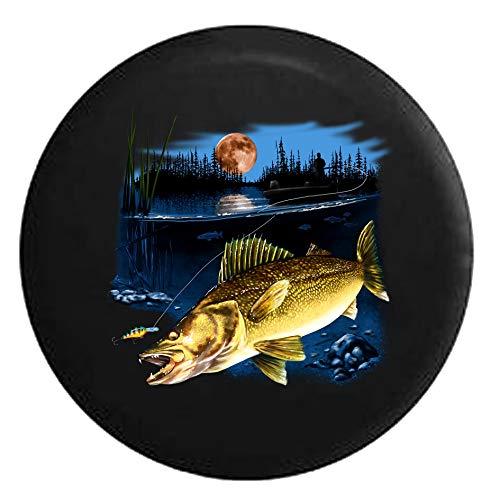 Y.Z.L. Walleye Fish in The Lake Señuelo de Pesca en la Noche Full MoonSpare Tire Cover 14/15/16/17inch