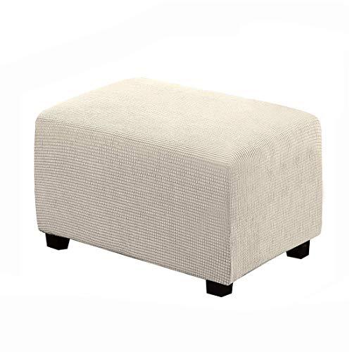 RenHe - Fodera per poggiapiedi da divano, in tessuto jacquard, elasticizzata, per sgabello, rettangolare, colore: beige