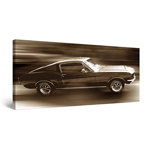 Startonight Cuadro Moderno en Lienzo Ford Mustang, Pintura Abstracta Para Salon Decoración 60 x 120 cm