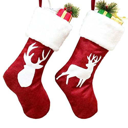 Calze di Natale - 2 pezzi 46cm modelli di renne con calze con polsino in peluche per la decorazione della festa di Natale per le vacanze in famiglia