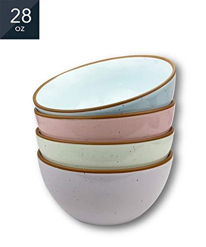 Mora Ceramic Bowls For Kitchen, 28oz - Bowl Set of 4 - For Cereal, Salad, Pasta, Soup, Dessert, Serving etc - Dishwasher, Microwave, and Oven Safe - For Breakfast, Lunch and Dinner - Assorted Colors