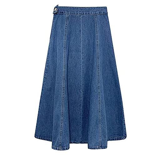 N\\P Frühling Sommer Plissee Jeansrock Elegant Mid-Calf Jeans, a, 6X-large