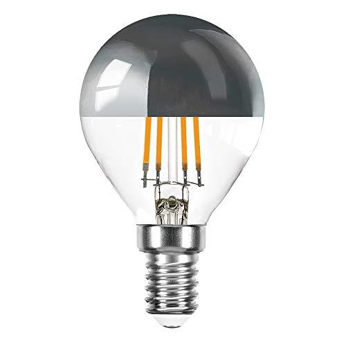 10 x LED Filament Tropfen 4 Watt = 40 Watt E14 Kopfspiegel Silber KVS P45 Glühfaden warmweiß 2700K Retrofit (silber, 10 x 4W ~ 40W)