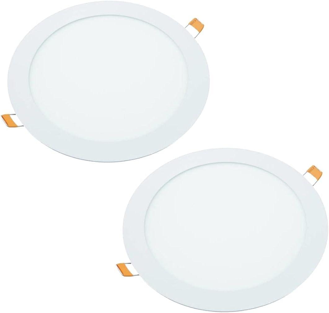 JANDEI - 2x Downlight LED 18W Redondo, Plano De Empotrar Aluminio Aro Blanco Mate Blanca Neutra 4200K(equivalente a 140W) Para Hueco De 200-205mm Blanco Medida 220mm