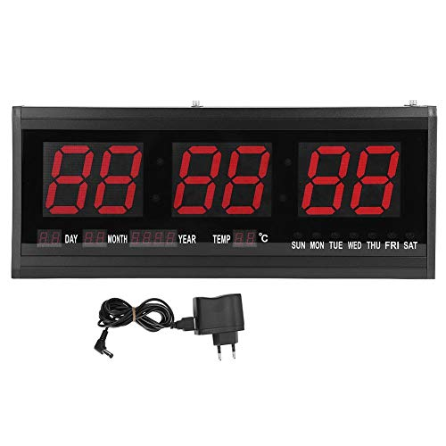 Orologio a LED digitale grande Orologio da parete digitale a LED moderno calendario Display timer Data Temperatura 24 o 12 ore Spina UE da ufficio 110 V-240 V - Montaggio a parete