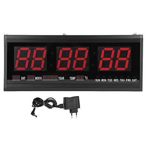 Ymiko Reloj LED Digital Grande Reloj de Pared Digital LED Moderno/Calendario Temporizador Pantalla Fecha Temperatura 24 o 12 Horas Oficina Enchufe de la UE 110V-240V - Montaje en Pared