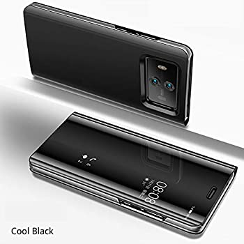 Huawei Mate10 Pro ケース Huawei Mate10 Pro カバー Huawei Mate10 Pro 革のカバー Huawei Mate10 Pro 鏡面視窓 Huawei Mate10 Pro 鏡面カバー 全面保護 強化ガラスフィルム 360度フルカバー 衝撃防止 アイフォン7ケース おしゃれ 高級感 スタンド機能 薄型 携帯カバー 耐衝撃 ファッション [選択可能な5色]- ブラック