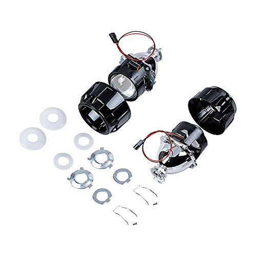 Compatible with H4 H7 H11 9005 9006 9007 H13 Headlight 1 Pair of Mini Bi-xenon Projector Lens Low High Beams with Shrouds Kit Hawaii