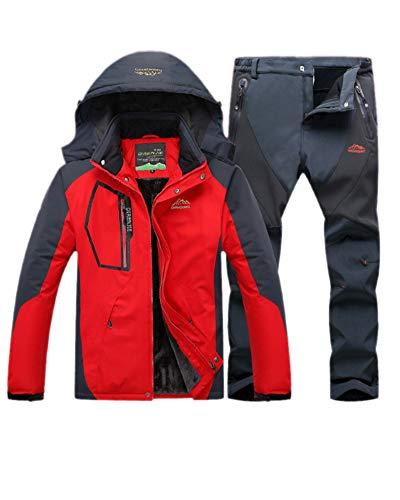 LiangZhu Herren Skijacke Segeljacke Snowboarjacke Warme Outdoorjacke Wasserdicht Atmungsaktiv Top + Hose Zweiteilig Rot Grau M