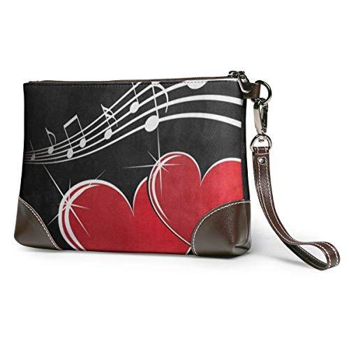 Bolsos de mano de mano para teléfono carteras de música corazón de cuero pequeño bolso de mano
