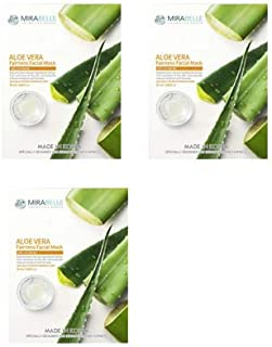 MIRABELLE COSMETICS KOREA Fairness Facial Mask ALOEVERA PACK OF 3 MADE IN KOREA SUITABLE FOR ALL SKIN TYPE
