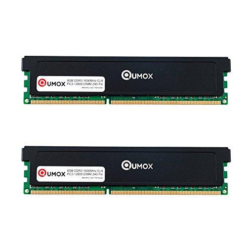 QUMOX 16GB(2x 8GB) DDR3 1600 PC3-12800 PC-12800 (240 PIN) DIMM Desktop Memoria XMP CL9 para computadora escritorio PC