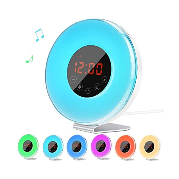 Lichtwecker-Lorretta-2019-Wake-Up-Licht-mit-FM-Radio-Digitaluhr-Licht-fr-Erwachsene-und-Kinder-7-Farbige-LED-Lichter-6-Alarm-Tne-10-Helligkeitsstufen-Sonnenaufgang-Simulation