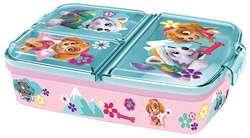 p:os 33429 Brotdose mit Paw Patrol Boy Motiv, mit 3 Fächern, ca. 14 x 18,5 x 5,5 cm, aus Kunststoff, bpa-und phthalatfrei, ideal für die Frühstückspause, für Kindergarten und Schule, Mehrfarbig
