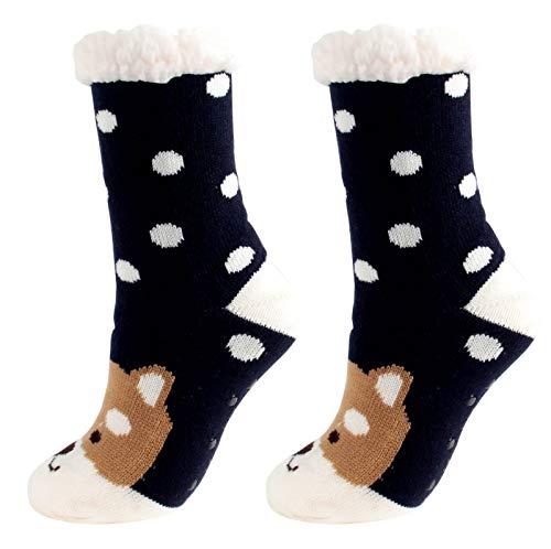 Briskorry Calcetines de invierno para mujer, de piel de cordero, cálidos calcetines de invierno con forro polar interior de lana con patrón navideño Zd Talla única