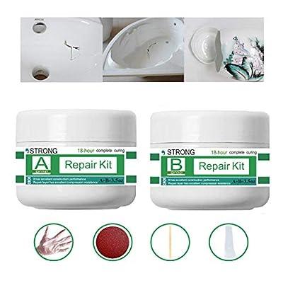 Tub, Tile, Porcelain and Shower Fiberglass Repair Kit for White Tubs, Ceramic Toilet Fiberglass Stone Chips Scraps Drill Holes Repair, Joint or Installation Adhesive