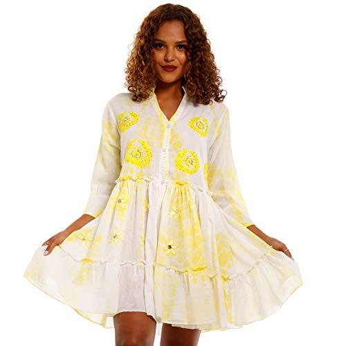 YC Fashion & Style Damen Boho Minikleid Tunika Kleid mit Spitze und Pailletten Volantkleid Made in India stylisches Strand-Kleid oder Party-Kleid Jumper aus 100% Baumwolle - Freizeit-Kleid (36, Gelb)