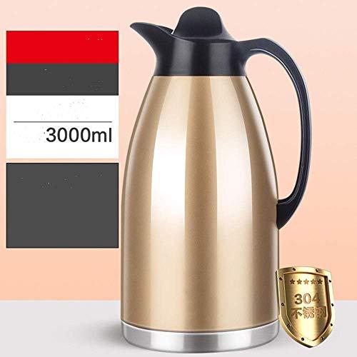 Kyman Thermos Edelstahl Thermostopf Haushaltsthermos großer Kapazität 304 Thermos Topf Kessel 2 Liter-Champagne Gold