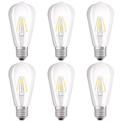Osram LED Star Classic Edison Lampe, in Edison Form mit E27-Sockel, nicht dimmbar, Ersetzt 40 Watt, Filamentstil Klar, Warmweiß - 2700 Kelvin, 6er-Pack