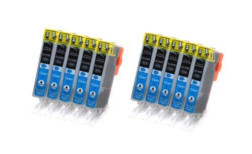 10x CLI-526 Cyan Tintenpatronen mit Chip kompatibel zu Canon für Canon IP4950 IP4850 MG5340 MG5250 MG5350 MG6250 MG8120 MG8240 MG6150 MG8250 MG5150 MG6120 MG5200 MG8150 MX885 MX715 MX884 MX895 IX6550