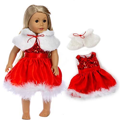 YUESEN Vestiti e Accessori per Bambole 2PCS Natale Vestito per Bambole Accessori per Vestiti Fatti a Mano Adorabili per 18 Pollici Baby Dolls Bambola American Girl Dolls bebé Bambolotti