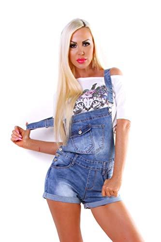OSAB-Fashion 5428 Damen Latzjeans Latzshorts Hotpants Jeans Shorts Jeansshorts Kurze Hose Workerstyle