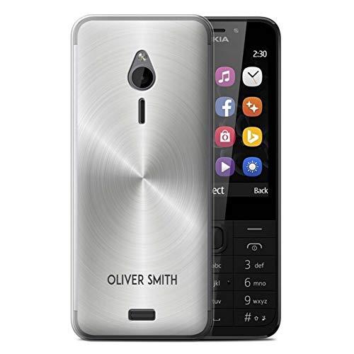 eSwish Personalisiert Individuell Gedruckter Effekt Metall Gel/TPU Hülle für Nokia 230 / Silber Metallisch Design/Initiale/Name/Text Schutzhülle/Case/Etui