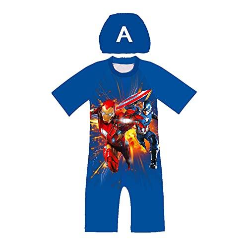 MYYLY Vengeur Spiderman Maillot Bain Enfant Iron Man Capitaine Amérique Enfants Maillots Dessin Animé Une Pièce Surf Super-héros Garçon Vêtements Plage D'été,O-XS Kids (100~110CM)