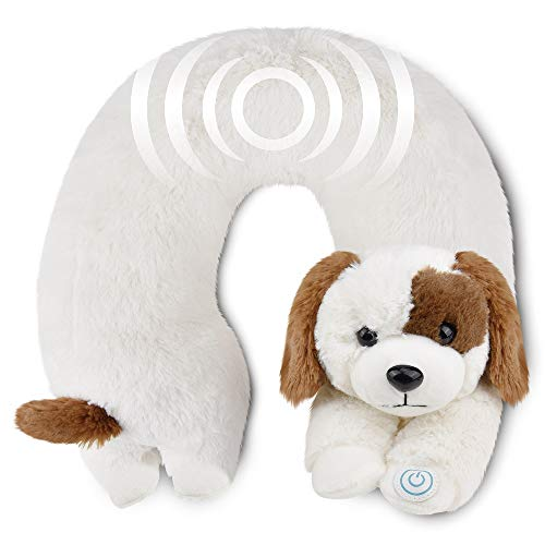 Neck Massager - Vibrating Body Massage - Neck Support - Pain Relief - Home, Office, Car - Plush Stuffed Animal (Dog)