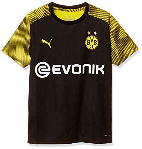 PUMA BVB Training Jersey Jr with Evonik Logo Maillot, Unisex niños, Black-Cyber Yellow, 164