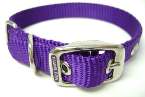 Hamilton 5/8-Inch by 16-Inch Single Thick Nylon Deluxe Dog Collar, Purple