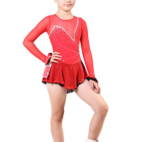 Q&M Vestido de Danza para Nia Manga Larga Lentejuelas Maillot de Gimnasia Ritmica Disfraz de Bailarina