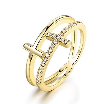Barzel 18k Gold Plated Cubic Zirconia Double Cross Ring  Gold 10