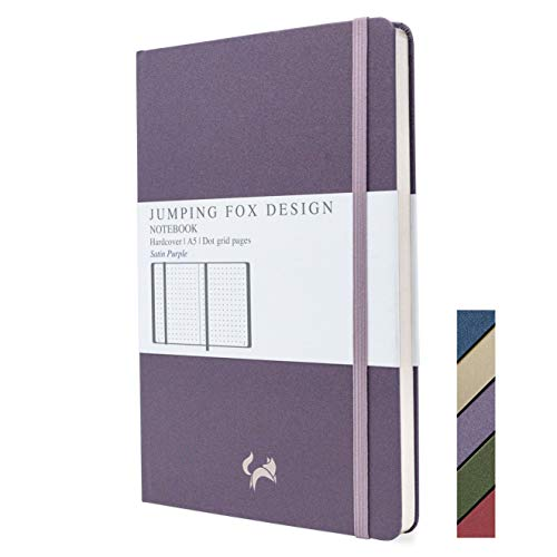 Jumping Fox Design Premium A5 Dotted Journal Hardcover Notebook, Medium 5.6 x 8.4 inches, 120gsm Thick Paper, Numbered Pages, Inner Pocket, Unique Leatherette, Satin Purple