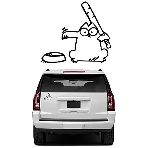 eSTORE-24 Online Marketing & Grafikdesign Simons Cat Autoaufkleber Sticker Wasserdicht Scheinwerfer Aufkleber Fit fürs Auto Motorrad Folie schwarz…