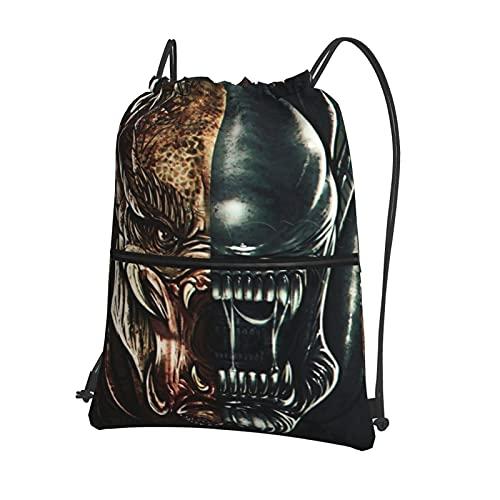 Ali-en - Mochila con cordón o predat-or mochila para gimnasia, impermeable, para baloncesto, deportes, gimnasio, con bolsillos con cremallera