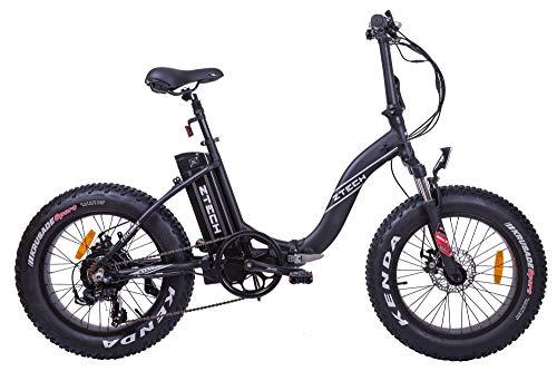 Fat-Bike Bicicletta Elettrica Pieghevole a Pedalata Assistita 20' 500W Z-Tech Nera