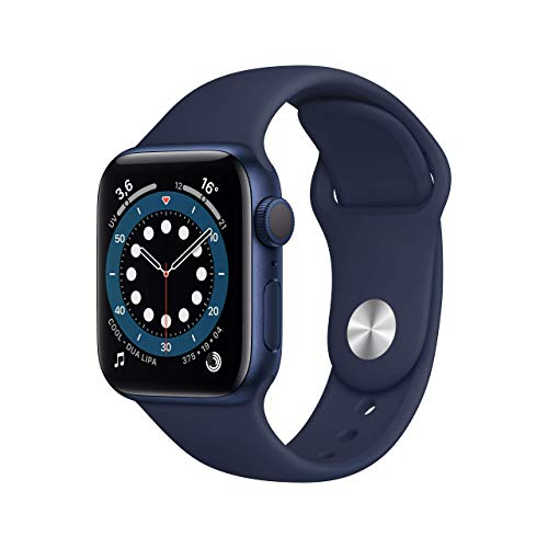 Apple Watch Series 6 (GPS, 40 mm) Cassa in alluminio azzurro con Cinturino Sport deep navy