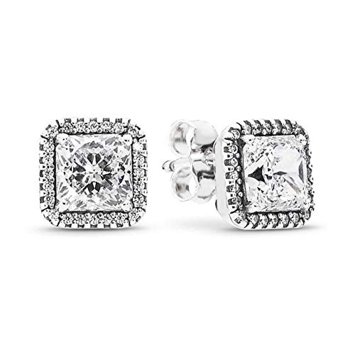 New Real 925 Sterling Silver Heart Crown Star Shinny Round Square Stud g For Women Original Fine DIY Ear Jewelry-K029