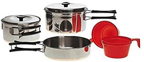 Mil-Tec Koch-Set 2 Person Stainless Steel Juego de Cocina, Unisex Adulto, Multicolor, 14.5 x 6.5 cm/13.5 x 6 cm/8 x 4 cm/16.5 x 3 cm