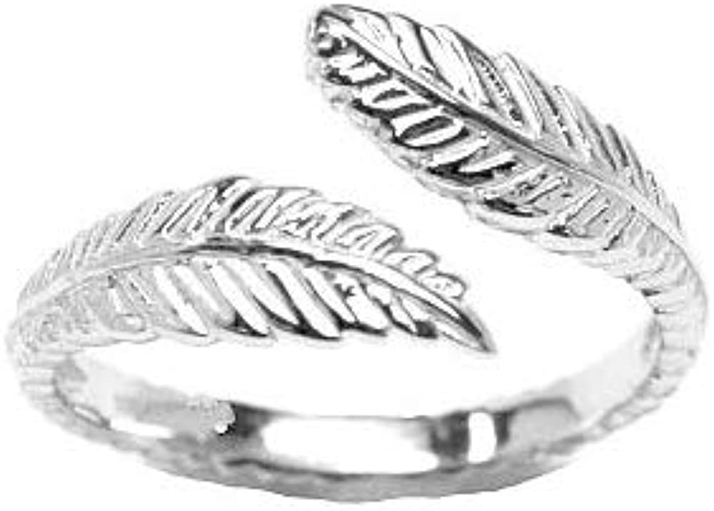10k White Gold Toe Ring Feather. Size Adjustable