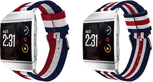 Simpleas Compatible con Fitbit Ionic Correa de Reloj, Pulsera Deportivo de Reloj de Nylon, con Cierre de Clip, Respirable y Reemplazable (2PCS E)