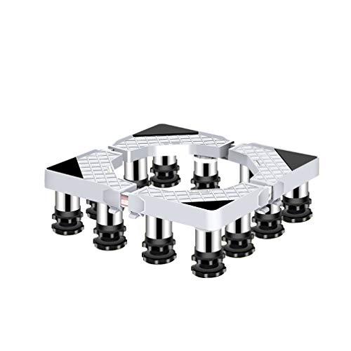 Einstellbare Waschmaschinen Untergestell Einstellbar Länge&Breite 40-65cm Waschmaschinensockel Podest Untergestell für Gefrierschrank Kühlschrank (12 Edelstahl Füße)