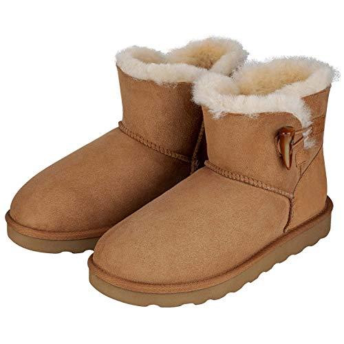 misento Unisex Winter Stiefel Boot Emma gefüttert Echtfell Leder Stiefellette braun Bootsschuh, 38 EU